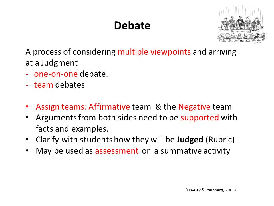 3/3/2012 Debate. A process of considering multiple viewpoints and arriving at a Judgment. one-on-one debate.