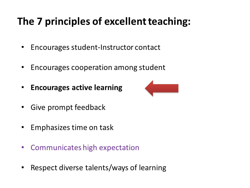 The 7 principles of excellent teaching: