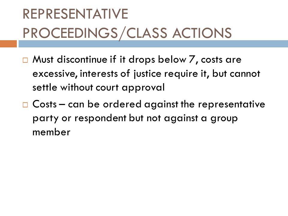 REPRESENTATIVE PROCEEDINGS/CLASS ACTIONS