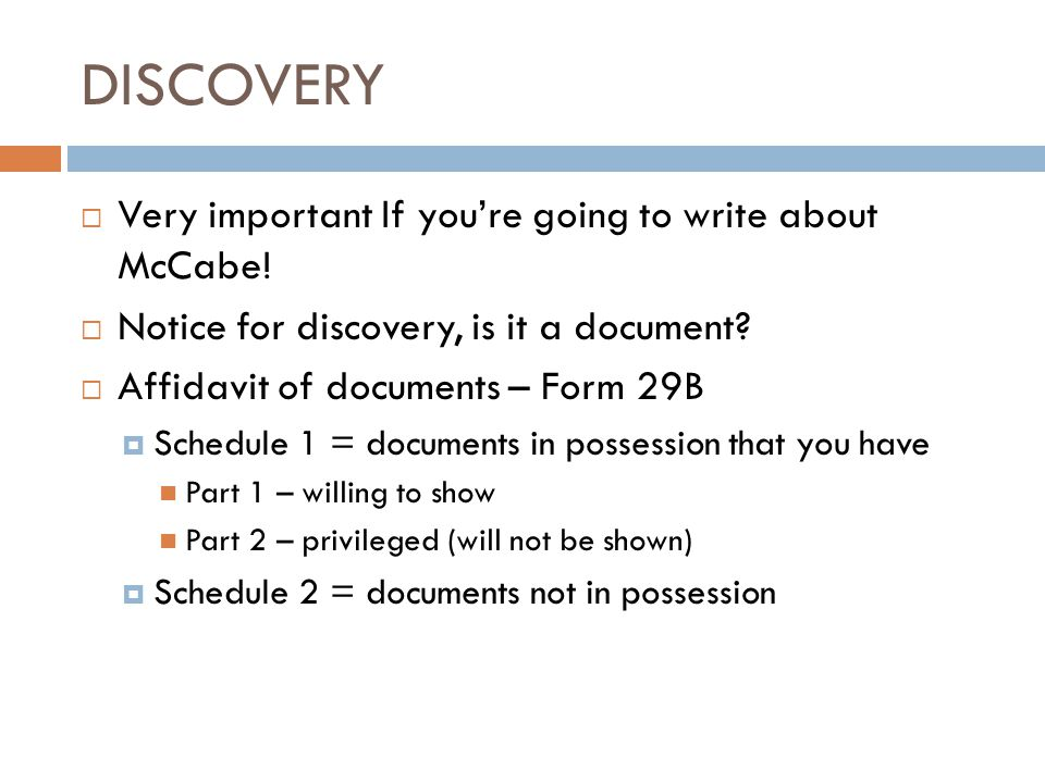 DISCOVERY Very important If you're going to write about McCabe!