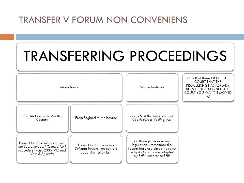 TRANSFER V FORUM NON CONVENIENS