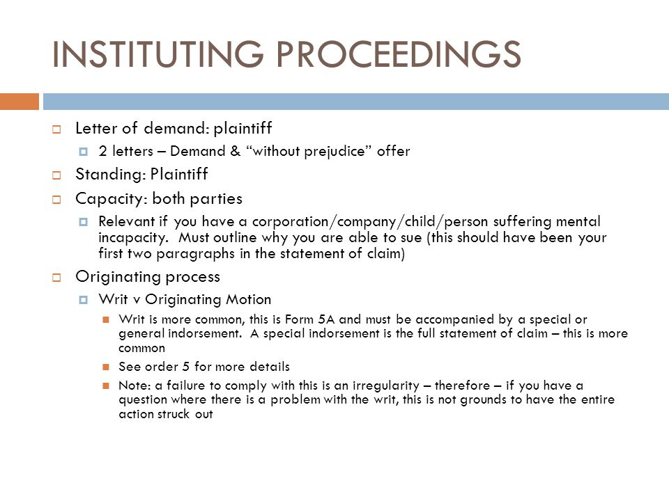 INSTITUTING PROCEEDINGS