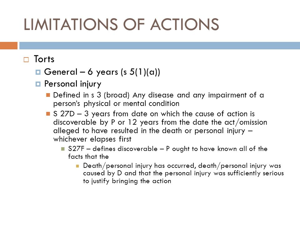 LIMITATIONS OF ACTIONS
