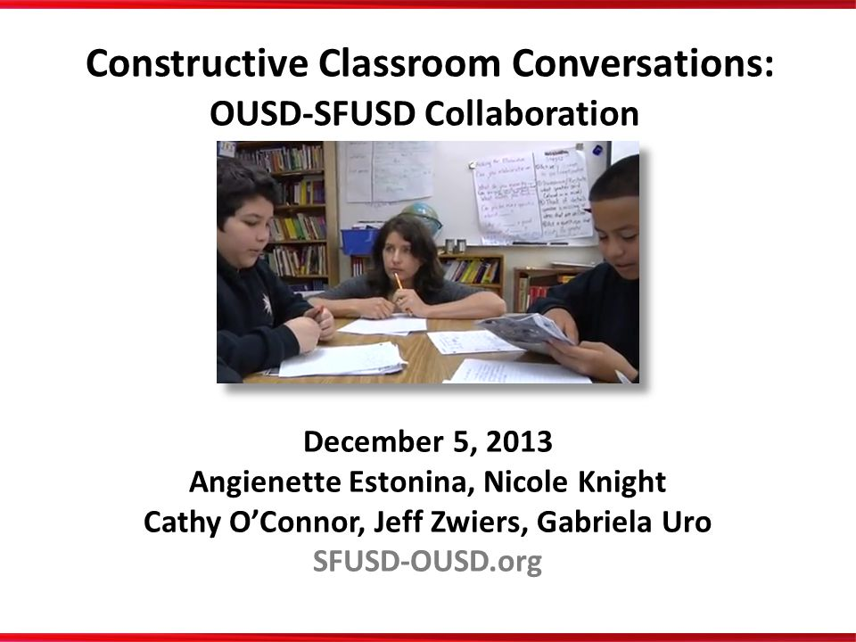 Constructive Classroom Conversations: