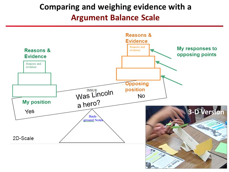 Comparing and weighing evidence with a Argument Balance Scale