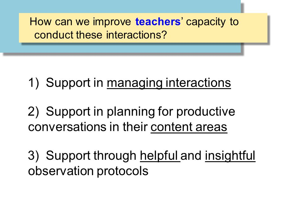 1) Support in managing interactions