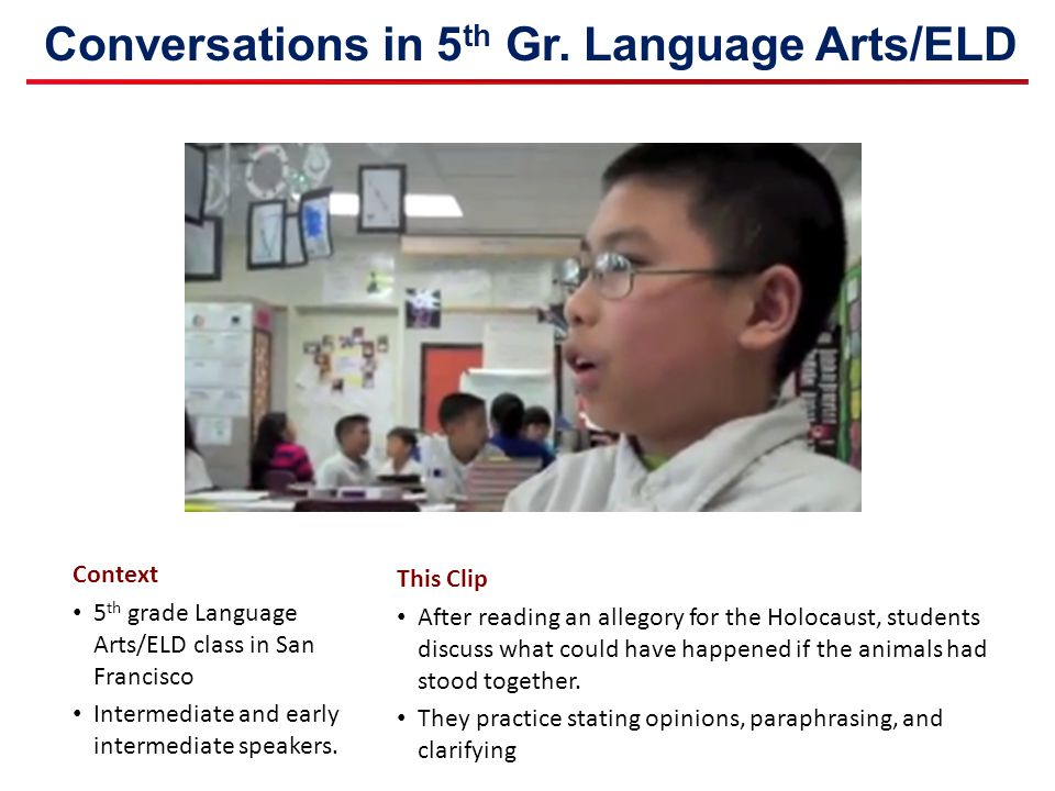 Conversations in 5th Gr. Language Arts/ELD