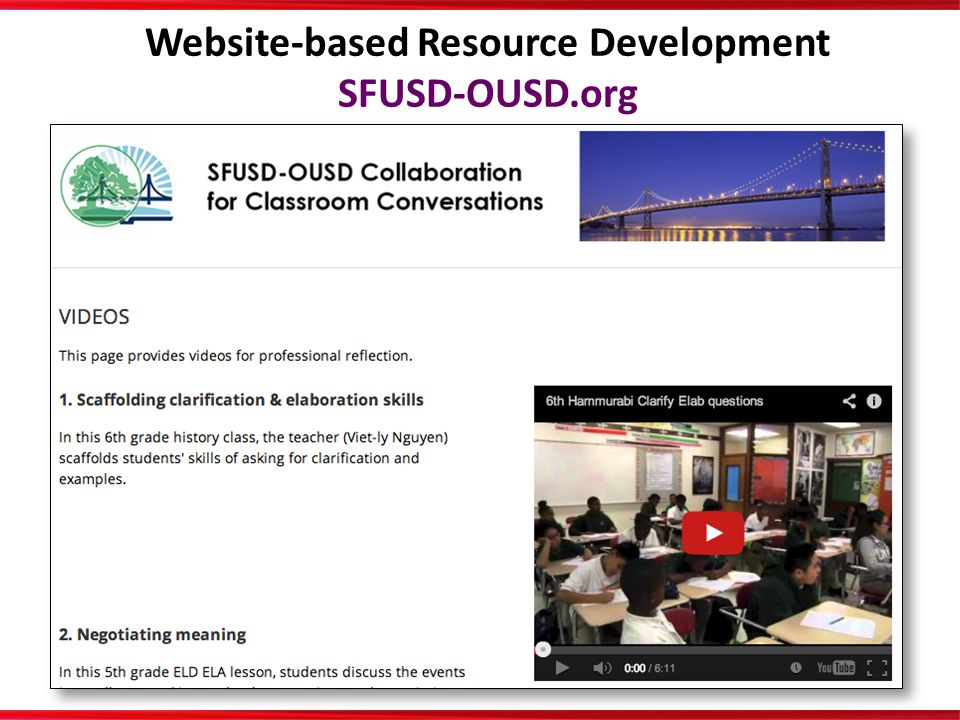 Website-based Resource Development SFUSD-OUSD.org