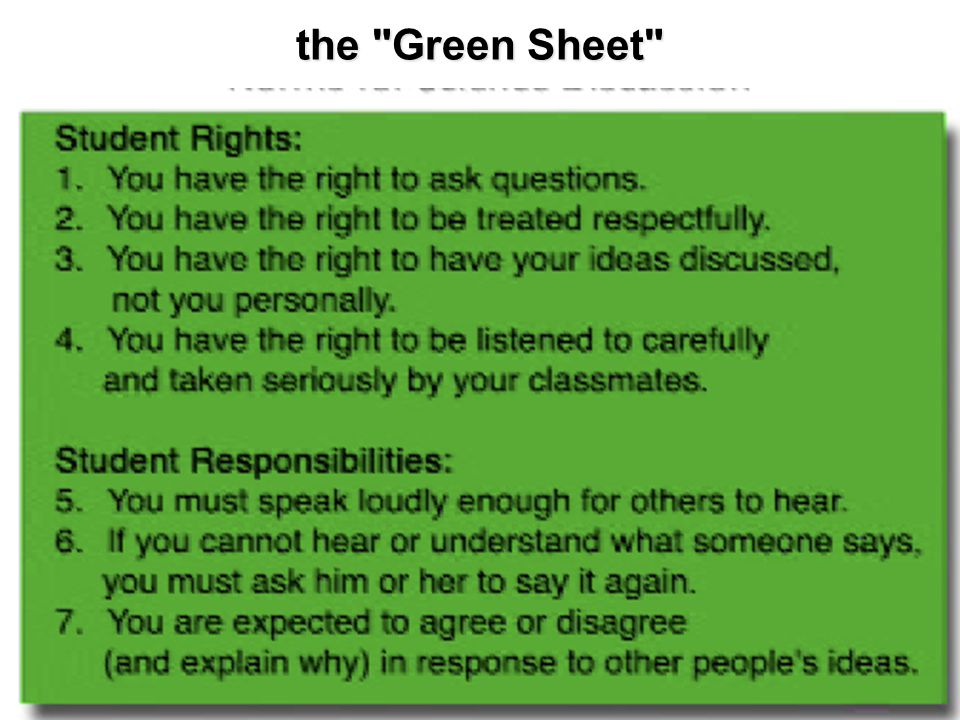 the Green Sheet 71