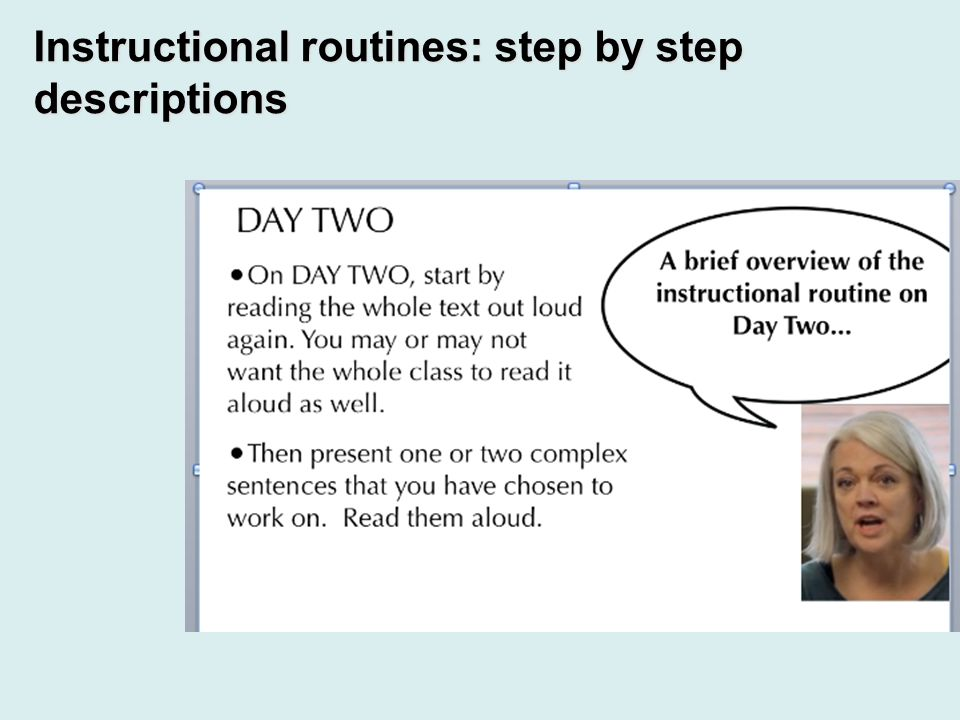 Instructional routines: step by step descriptions