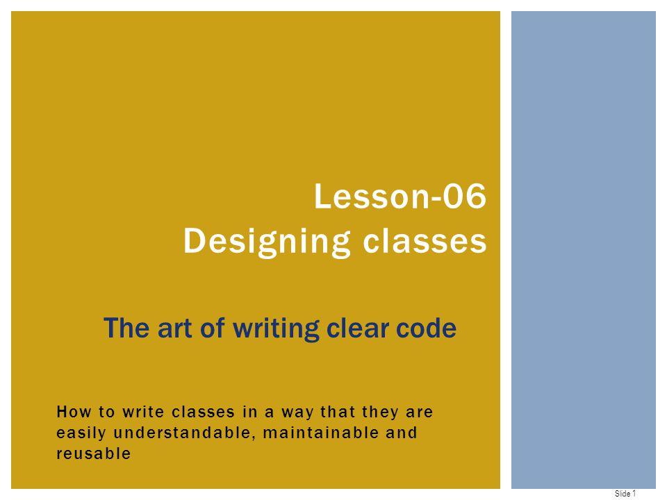 Lesson-06 Designing classes