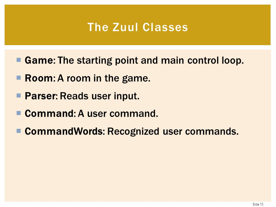 The Zuul Classes Game: The starting point and main control loop.