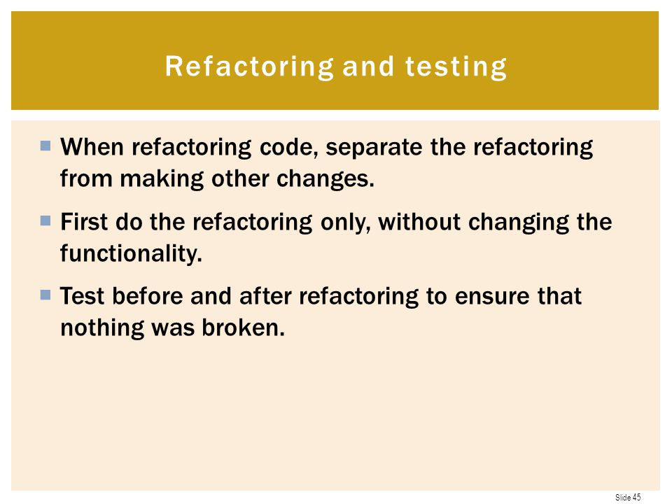 Refactoring and testing