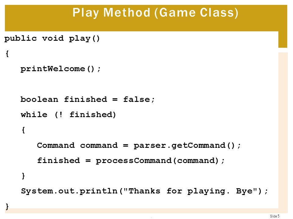 Play Method (Game Class)
