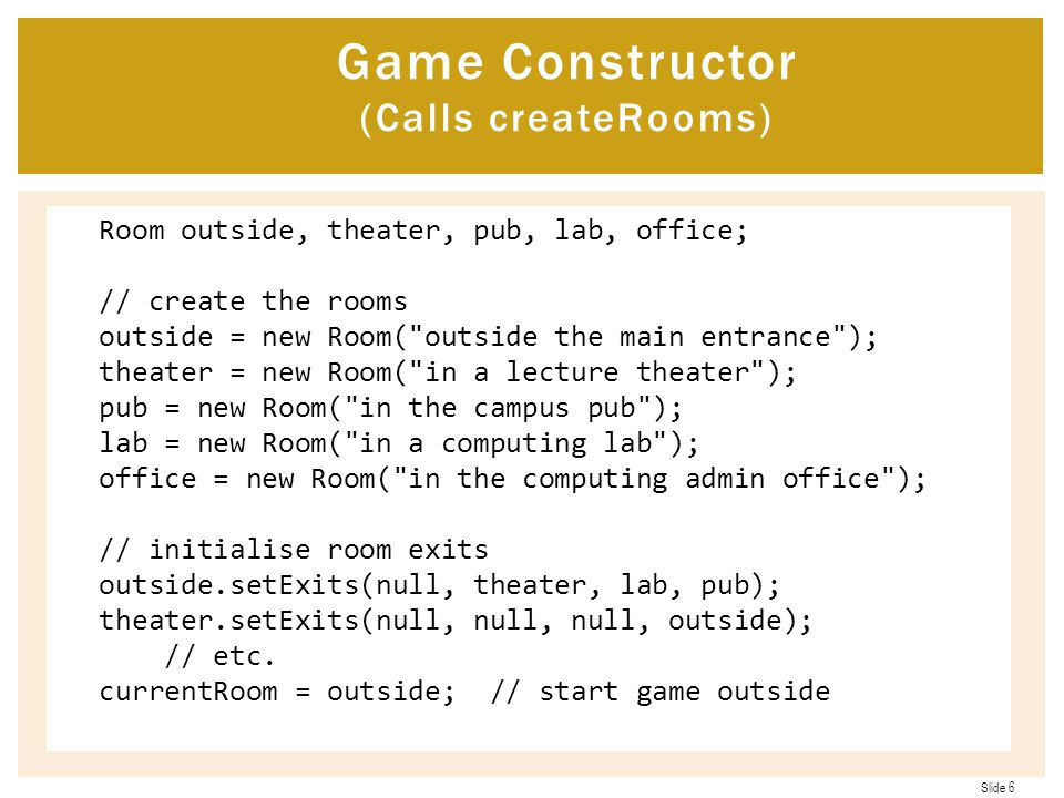 Game Constructor (Calls createRooms)