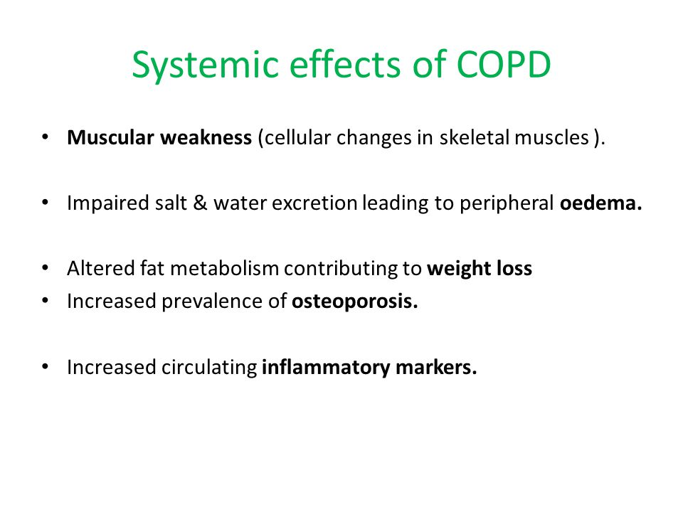 Systemic effects of COPD