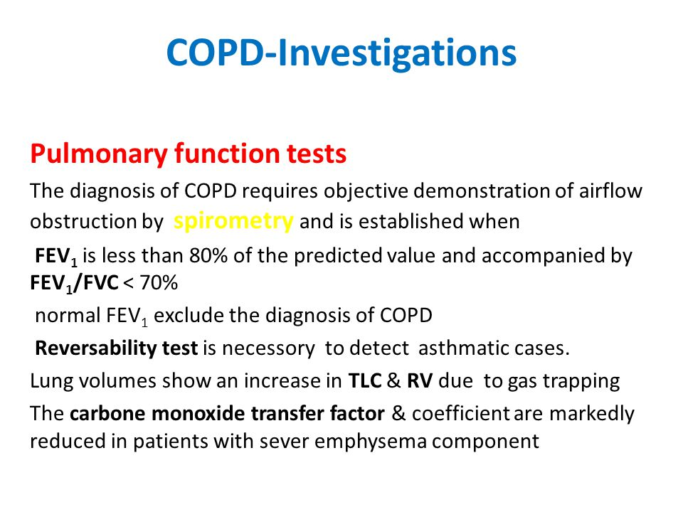 COPD-Investigations Pulmonary function tests