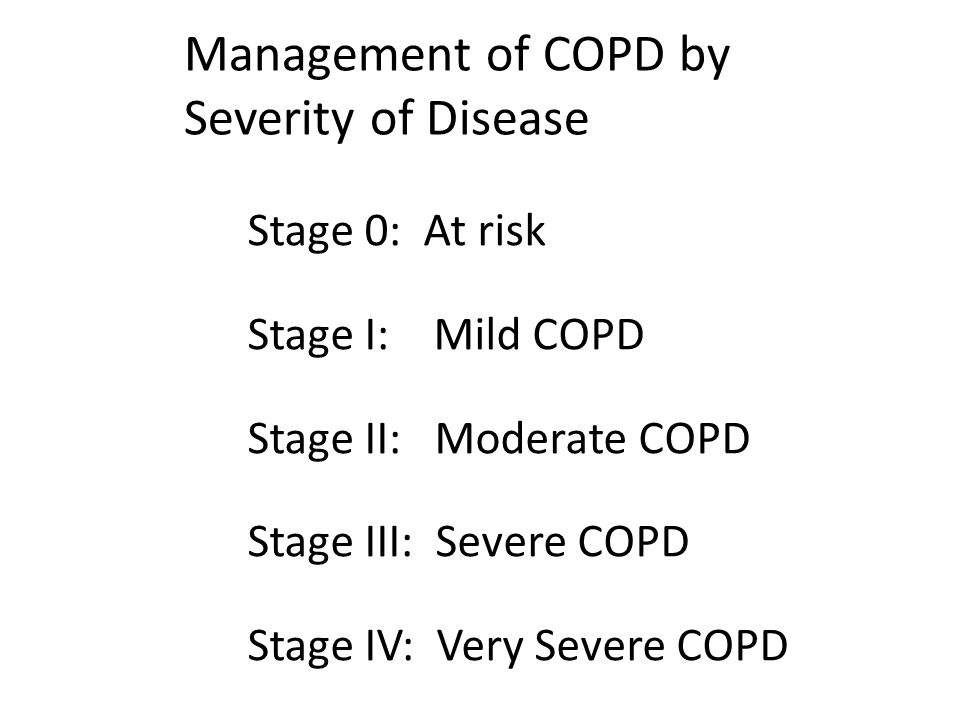 Management of COPD by Severity of Disease