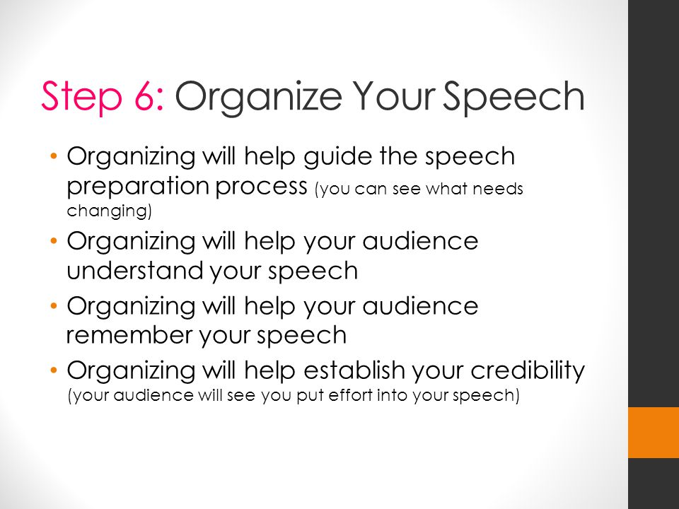 Step 6: Organize Your Speech