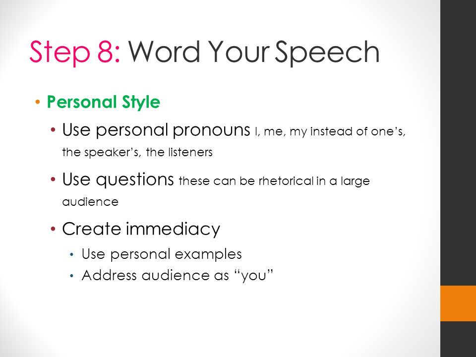 Step 8: Word Your Speech Personal Style