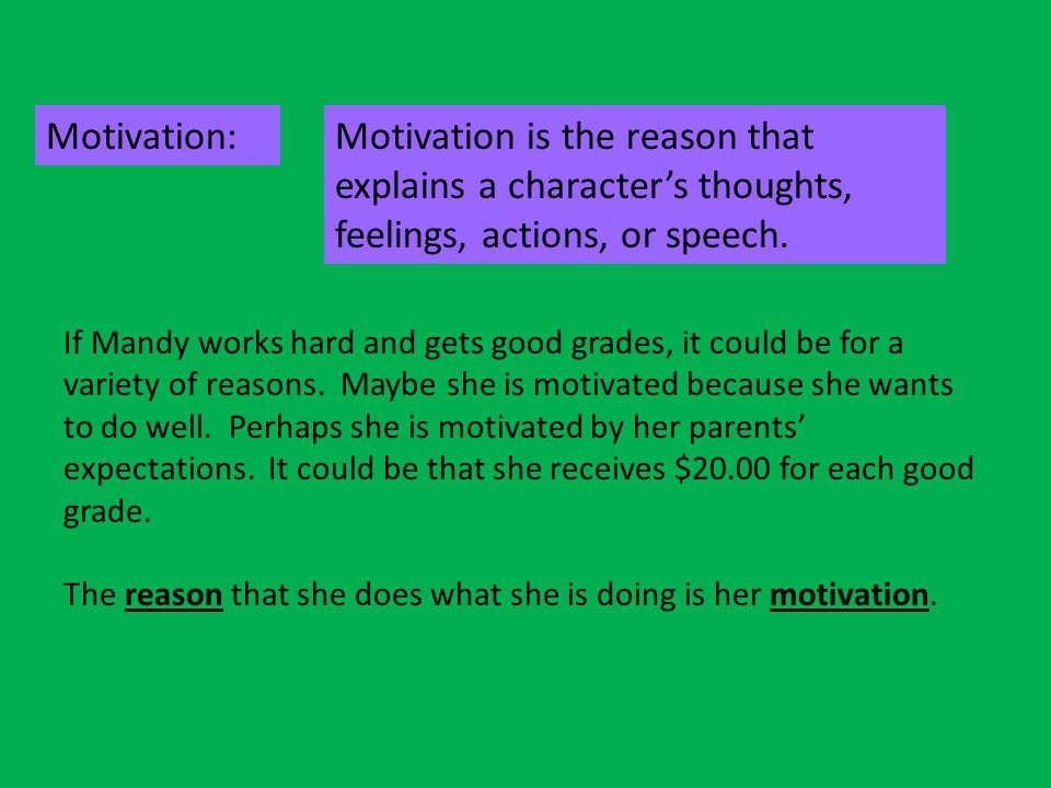 Motivation: Motivation is the reason that explains a character's thoughts, feelings, actions, or speech.