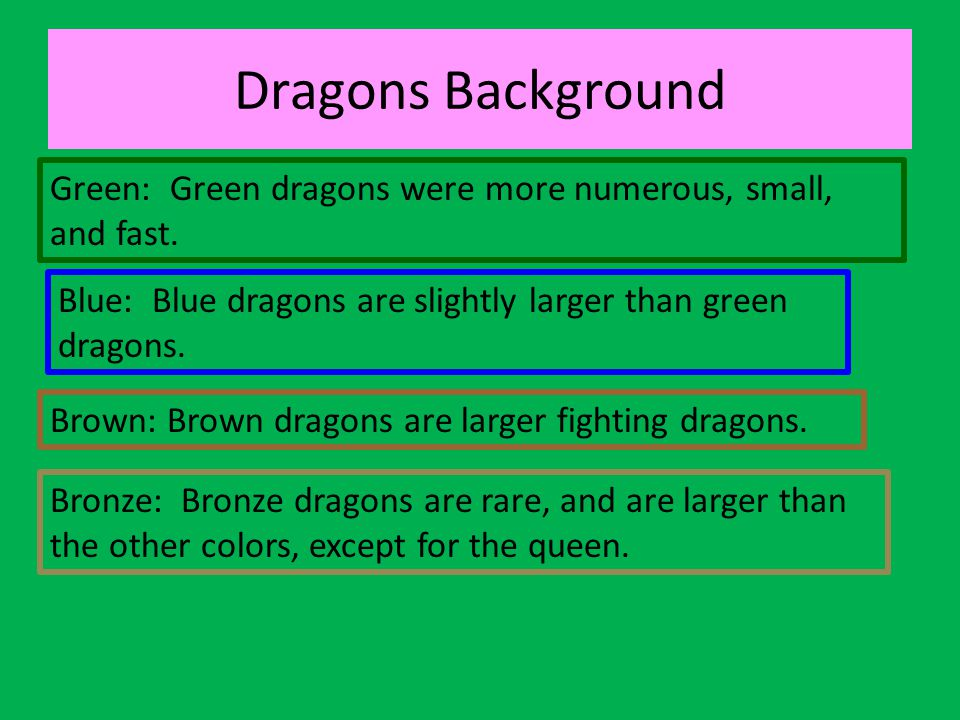 Dragons Background Green: Green dragons were more numerous, small, and fast. Blue: Blue dragons are slightly larger than green dragons.