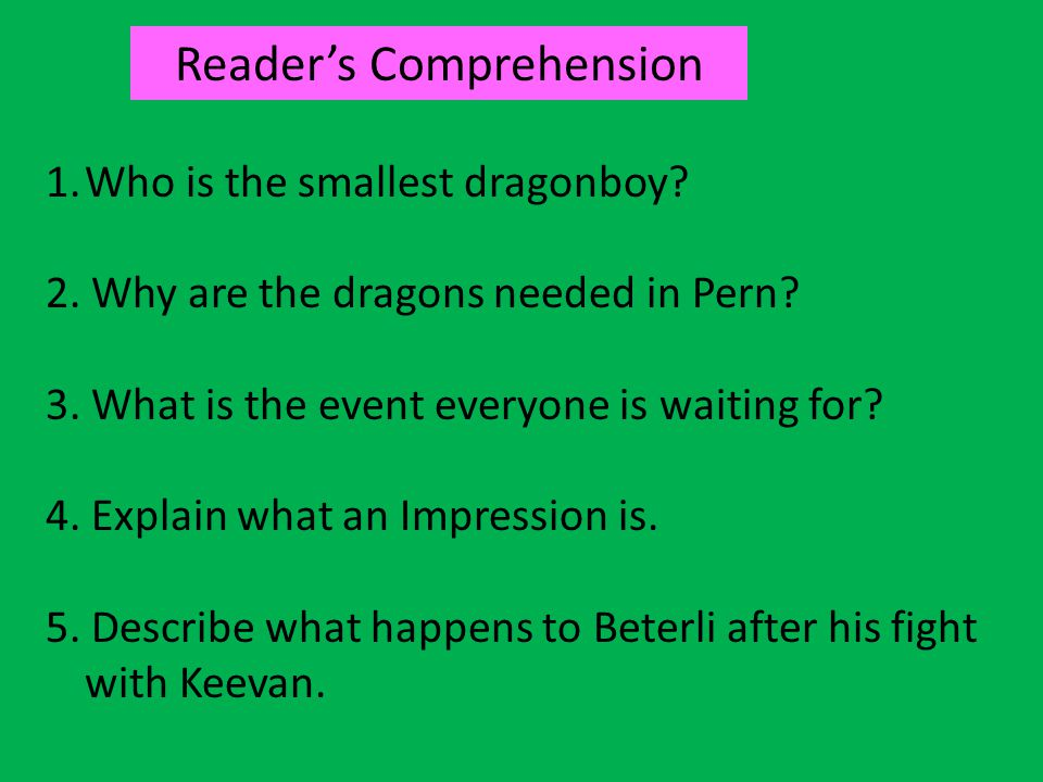 Reader's Comprehension