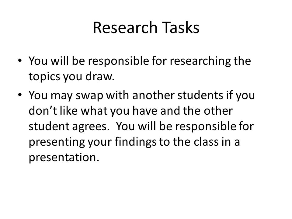 Research Tasks You will be responsible for researching the topics you draw.