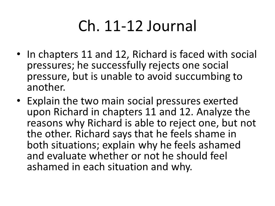 Ch. 11-12 Journal