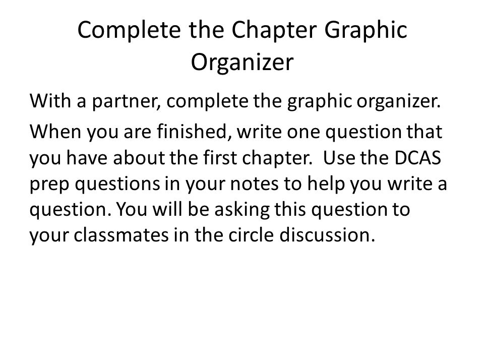 Complete the Chapter Graphic Organizer