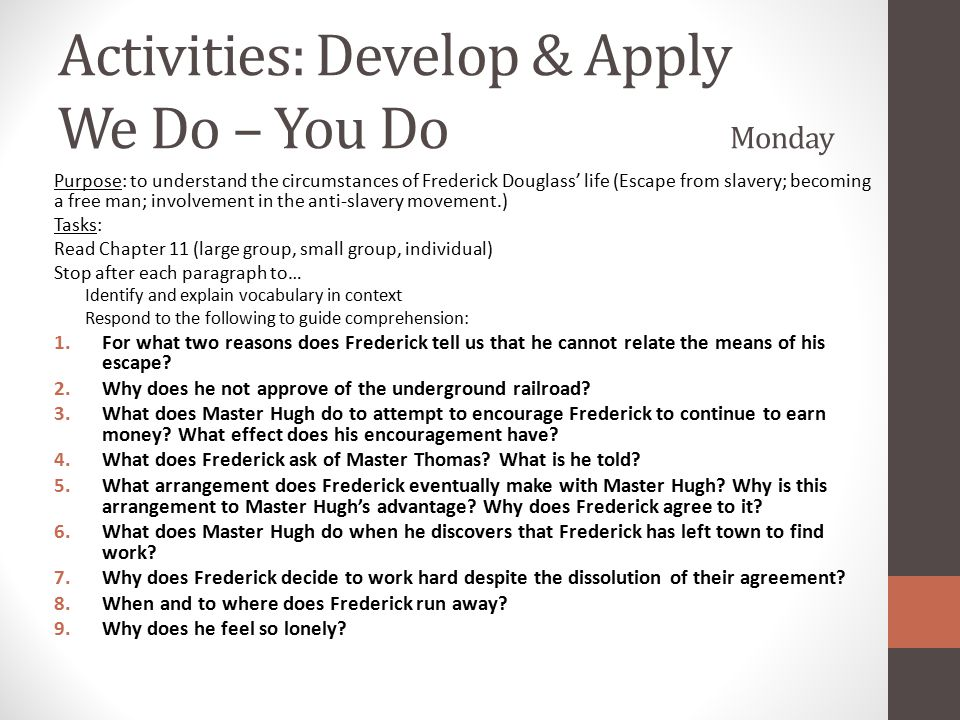Activities: Develop & Apply We Do – You Do Monday