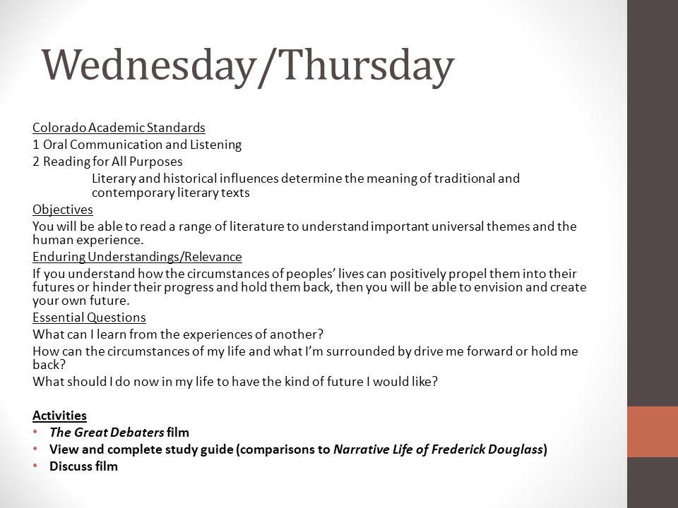 Wednesday/Thursday Colorado Academic Standards