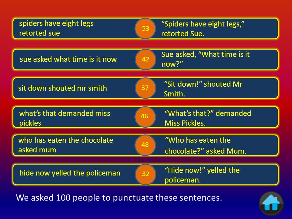 We asked 100 people to punctuate these sentences.