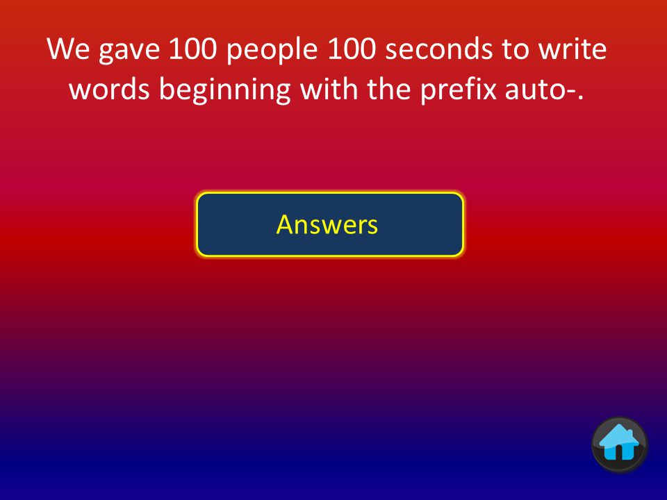 We gave 100 people 100 seconds to write words beginning with the prefix auto-.