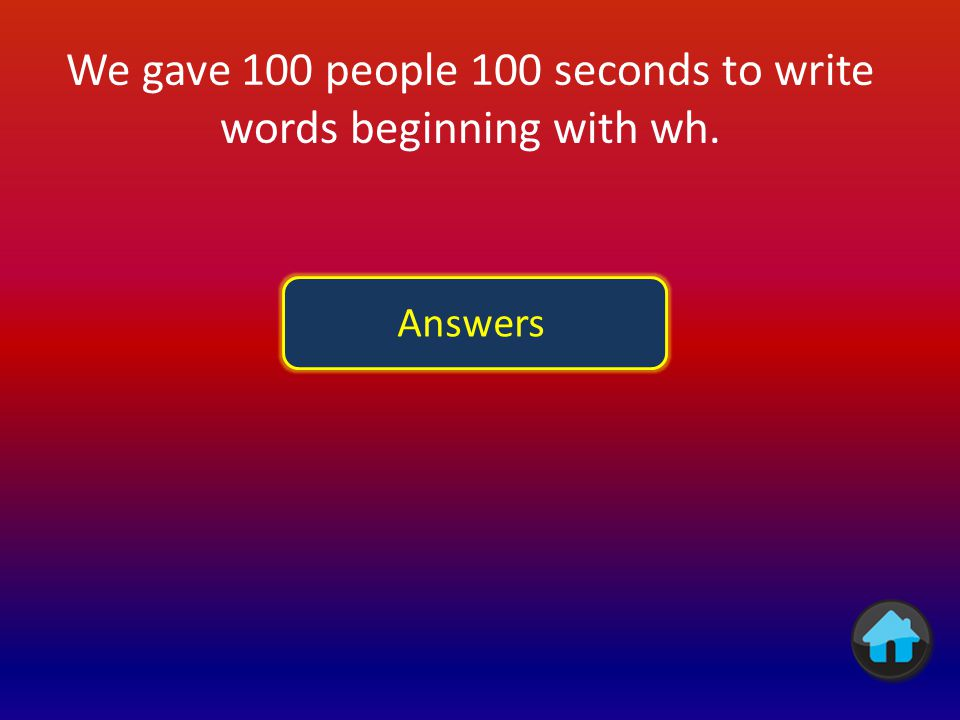 We gave 100 people 100 seconds to write words beginning with wh.