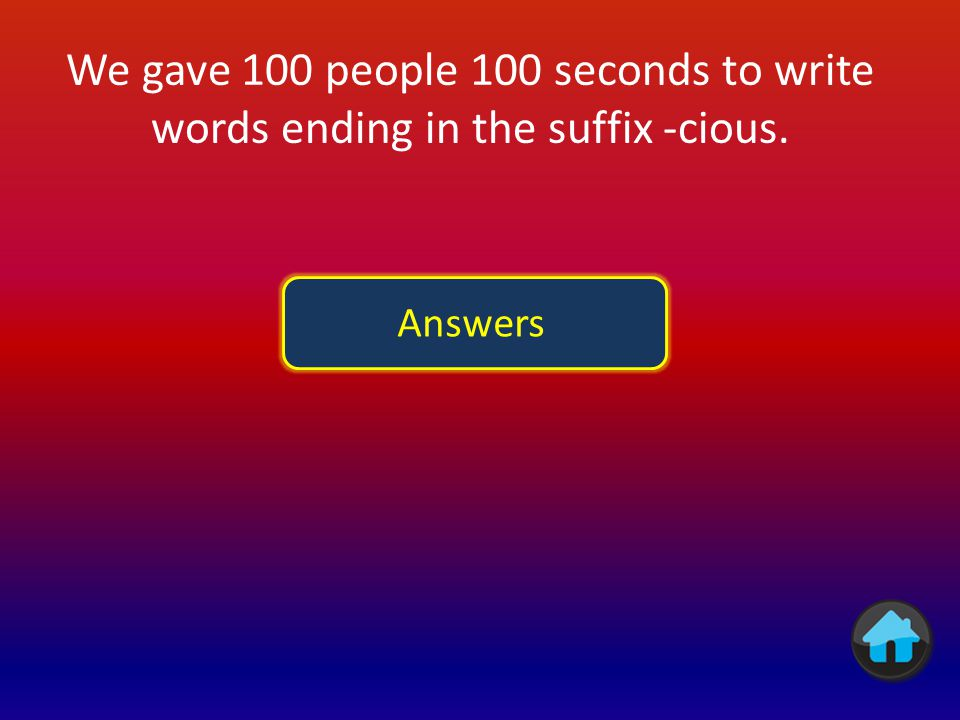 We gave 100 people 100 seconds to write words ending in the suffix -cious.