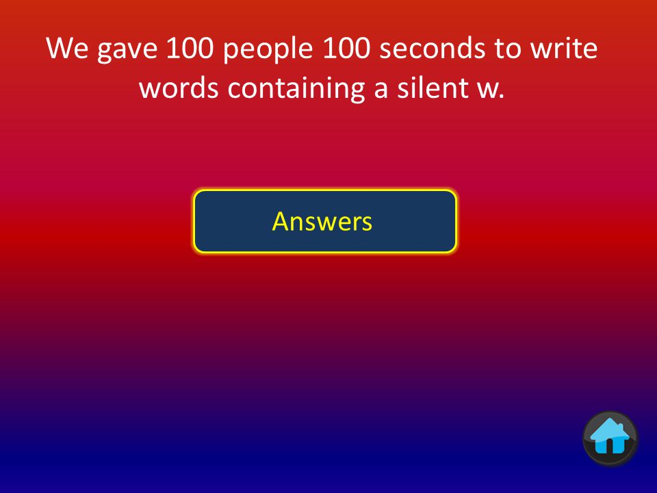 We gave 100 people 100 seconds to write words containing a silent w.