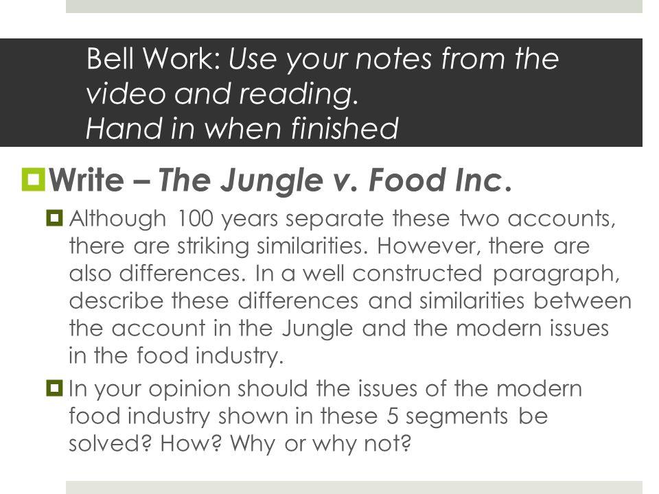 Write – The Jungle v. Food Inc.
