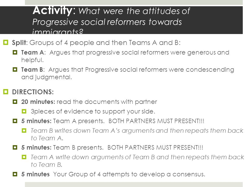 Activity: What were the attitudes of Progressive social reformers towards immigrants