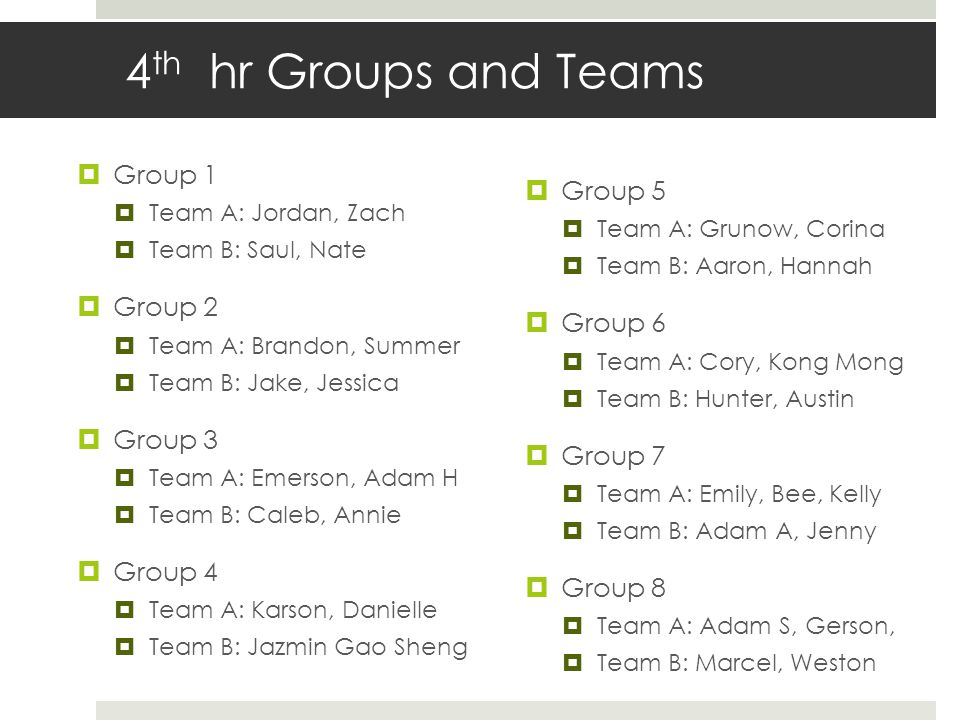 4th hr Groups and Teams Group 1 Group 5 Group 2 Group 6 Group 3