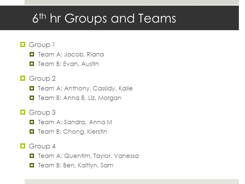 6th hr Groups and Teams Group 1 Group 2 Group 3 Group 4