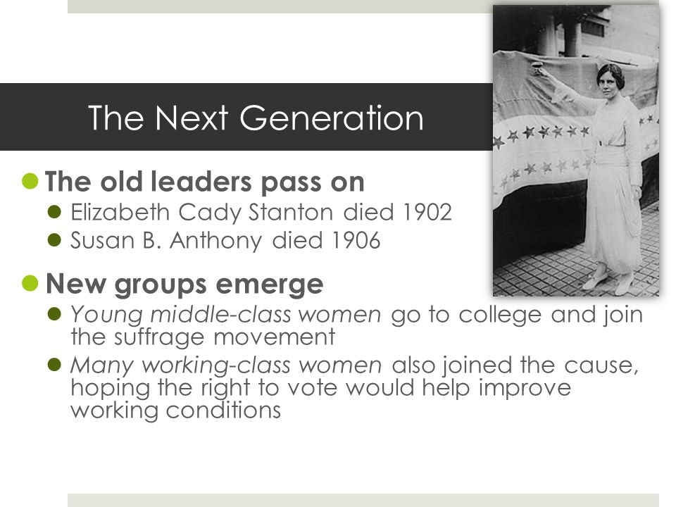 The Next Generation The old leaders pass on New groups emerge