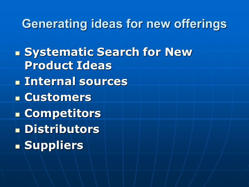 Generating ideas for new offerings