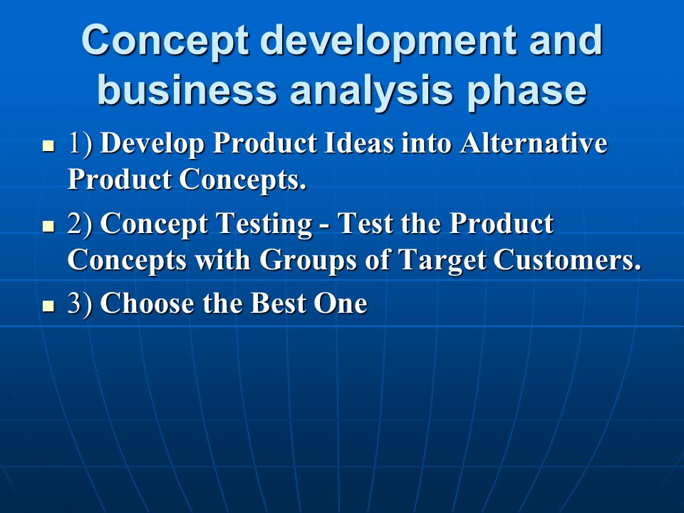 Concept development and business analysis phase