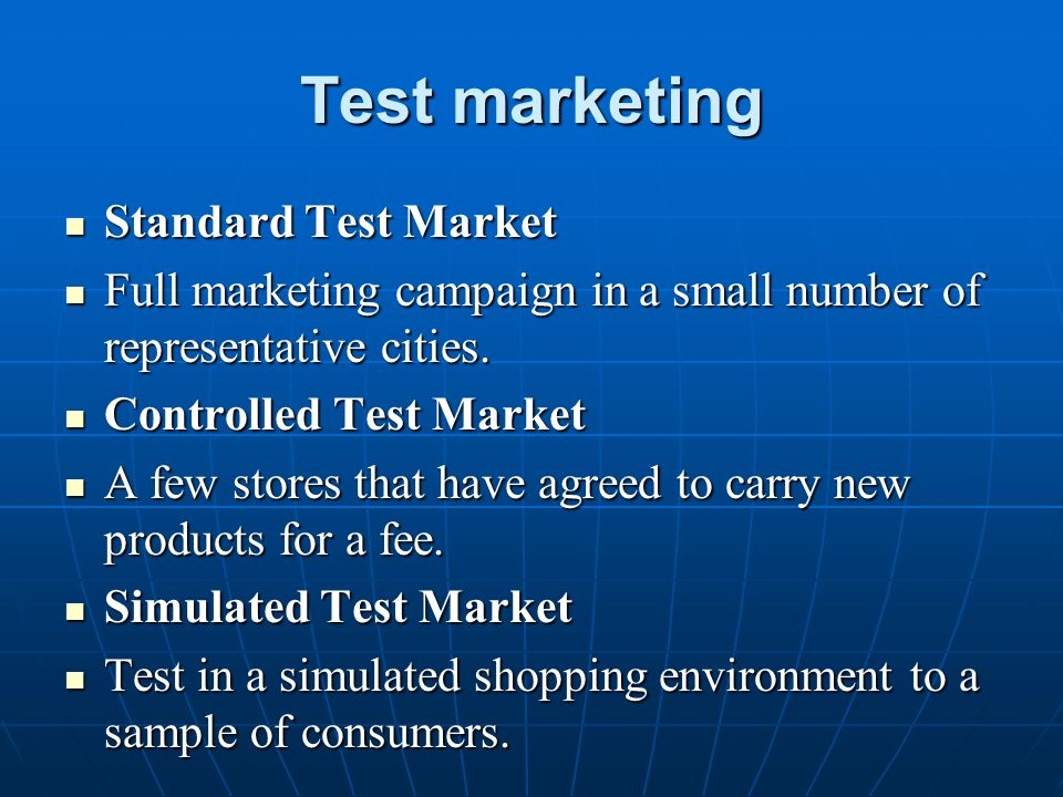 Test marketing Standard Test Market