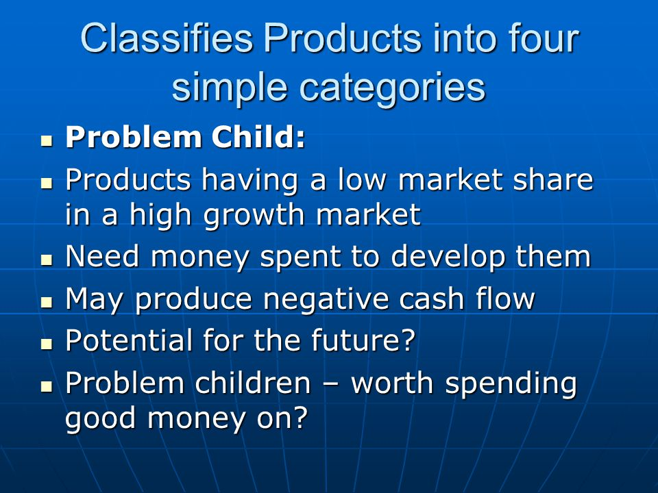 Classifies Products into four simple categories