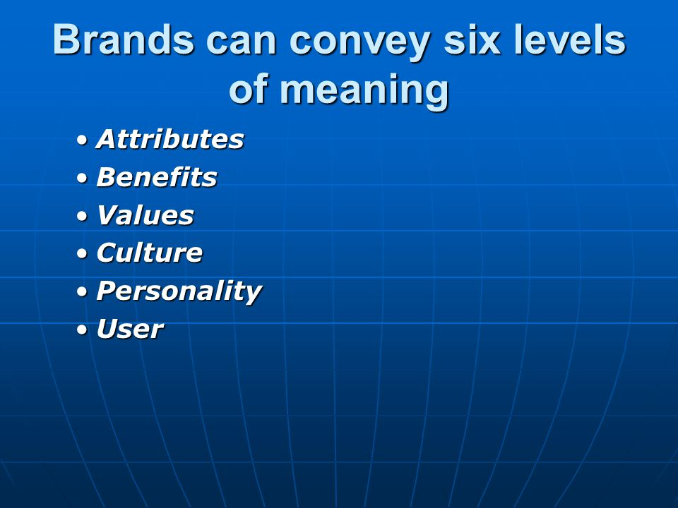 Brands can convey six levels of meaning