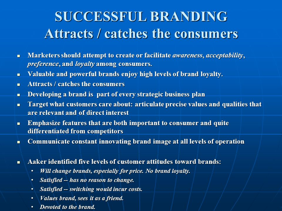 SUCCESSFUL BRANDING Attracts / catches the consumers