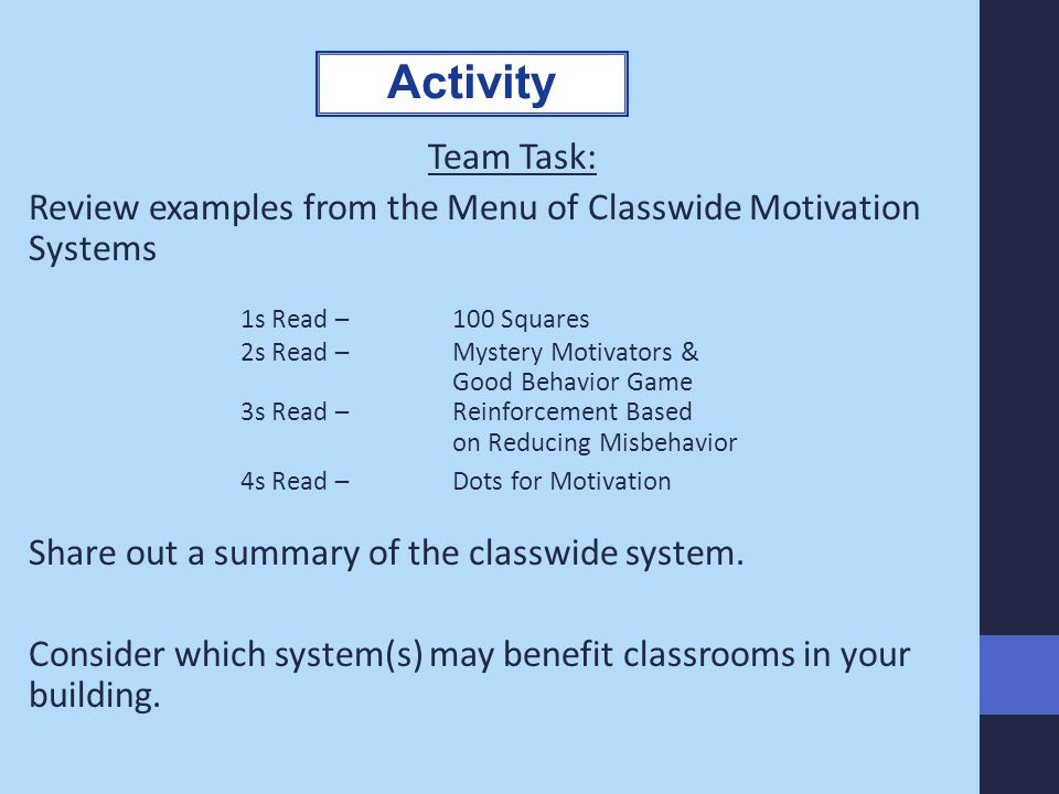 Activity Team Task: Review examples from the Menu of Classwide Motivation Systems. 1s Read – 100 Squares.