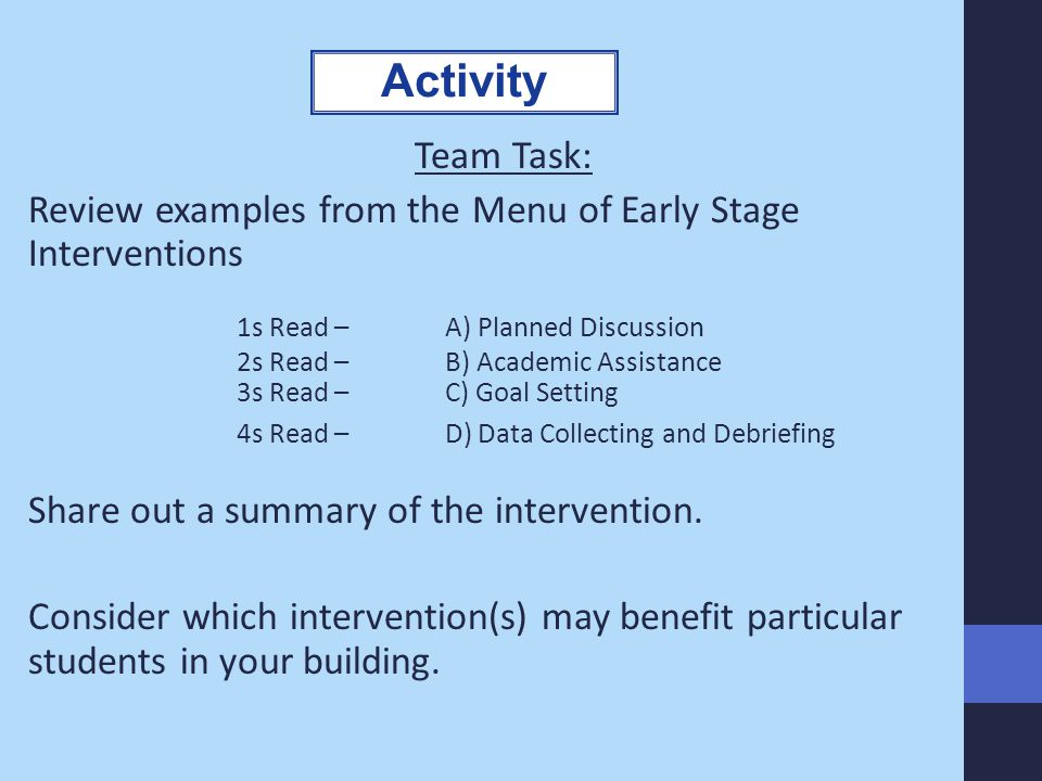 Activity Team Task: Review examples from the Menu of Early Stage Interventions. 1s Read – A) Planned Discussion.